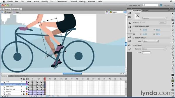 Using classic tweens for character animation: Flash Professional CS5 Essential Training