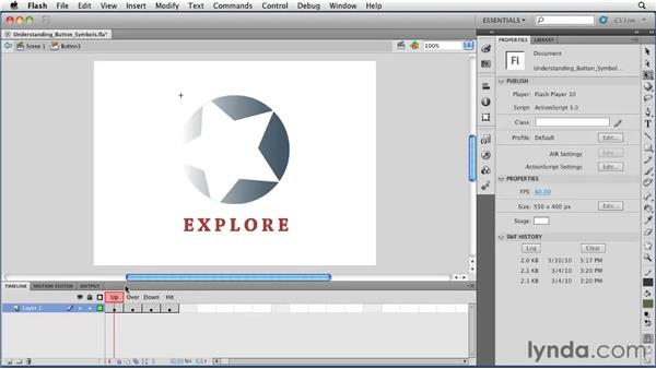 Understanding button symbols: Flash Professional CS5 Essential Training