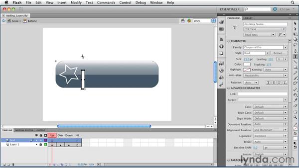 Adding layers to button symbols: Flash Professional CS5 Essential Training
