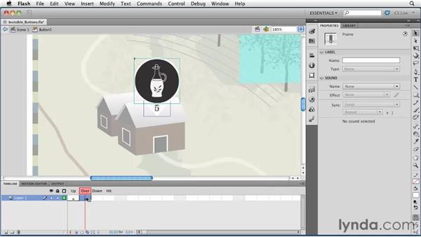 Creating invisible buttons: Flash Professional CS5 Essential Training