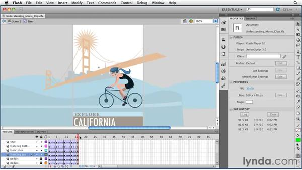 Understanding and creating movie clips: Flash Professional CS5 Essential Training