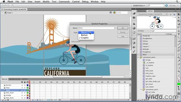 Converting a graphic symbol to a movie clip: Flash Professional CS5 Essential Training