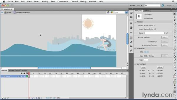 Creating seamlessly looping animations with movie clips: Flash Professional CS5 Essential Training