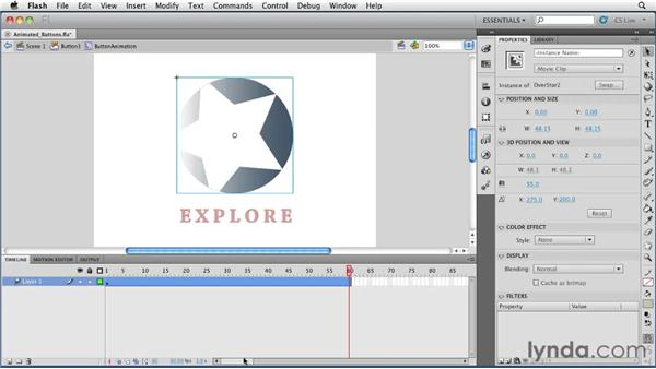 Using movie clips to create animated buttons: Flash Professional CS5 Essential Training