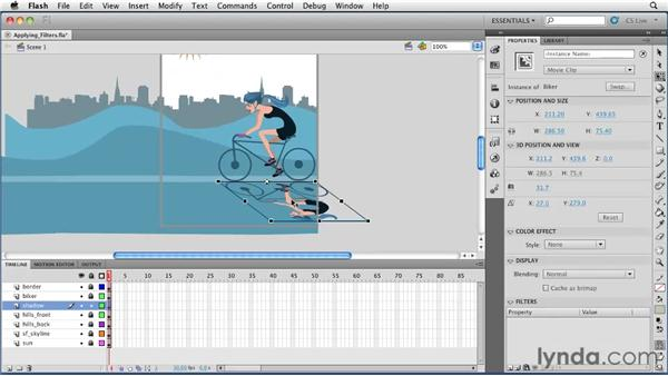 Applying filters to objects: Flash Professional CS5 Essential Training