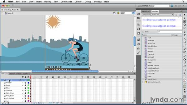 Importing and adding audio to an animation: Flash Professional CS5 Essential Training
