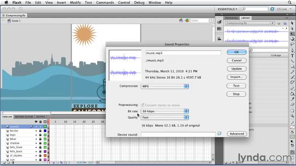 Compressing audio with the library: Flash Professional CS5 Essential Training
