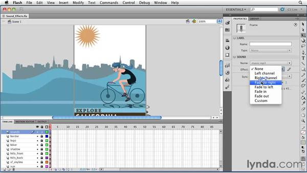 Controlling sound effects through the Properties panel: Flash Professional CS5 Essential Training