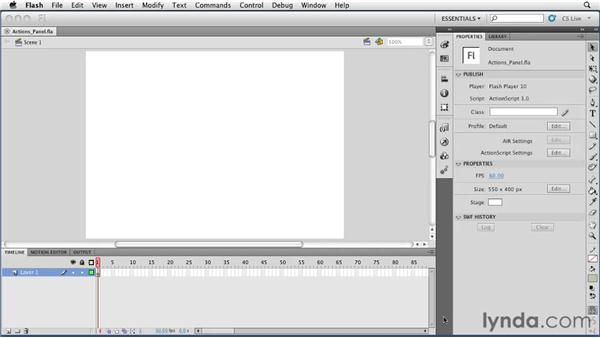 Working with the Actions panel : Flash Professional CS5 Essential Training