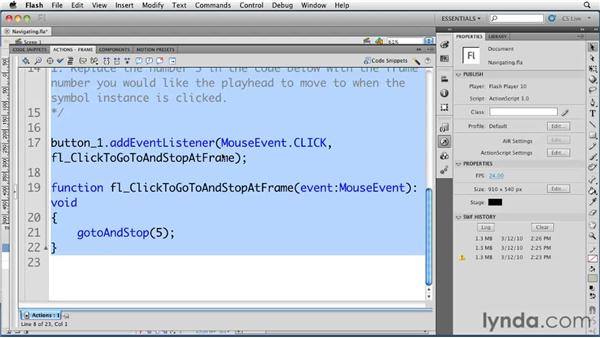 Using code snippets to navigate a timeline: Flash Professional CS5 Essential Training