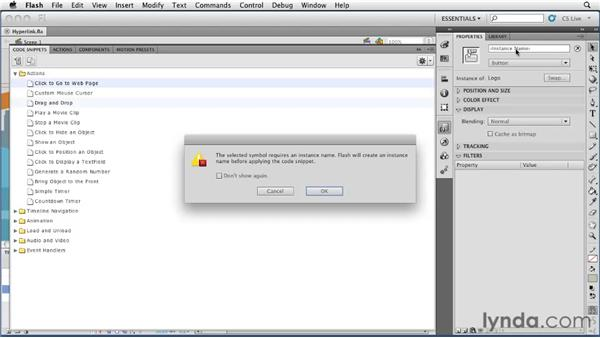 Using code snippets to create a hyperlink: Flash Professional CS5 Essential Training