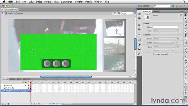 Using code snippets to control video: Flash Professional CS5 Essential Training