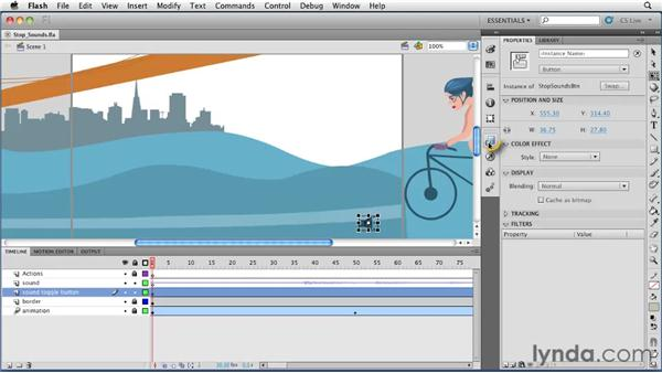 Using code snippets to stop sounds from playing: Flash Professional CS5 Essential Training