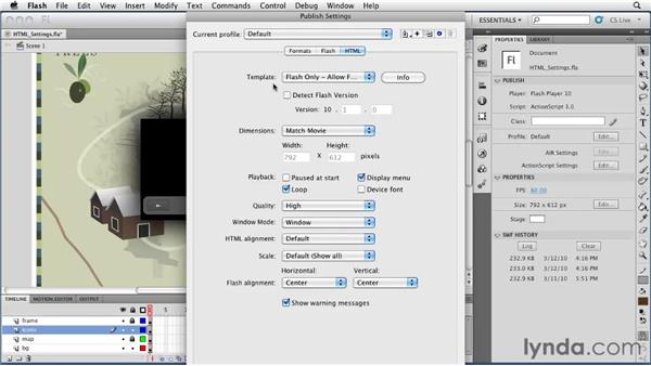 Controlling HTML settings in the Publish Settings window: Flash Professional CS5 Essential Training
