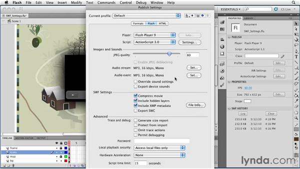 Adjusting SWF publish settings: Flash Professional CS5 Essential Training
