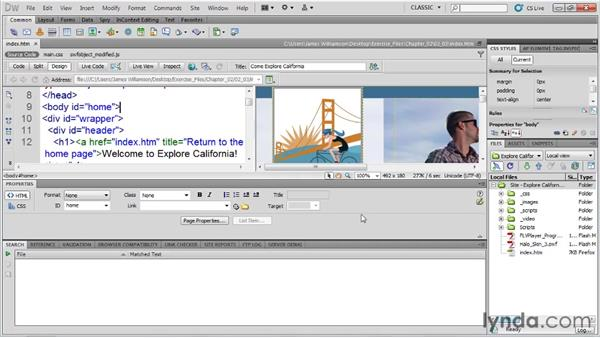 Managing workspaces: Dreamweaver CS5 Essential Training