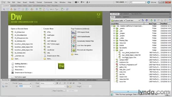 Managing files and folders: Dreamweaver CS5 Essential Training