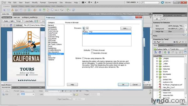 Working with browsers: Dreamweaver CS5 Essential Training