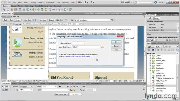 Setting accessibility preferences: Dreamweaver CS5 Essential Training