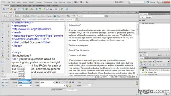 Adding structure to text: Dreamweaver CS5 Essential Training