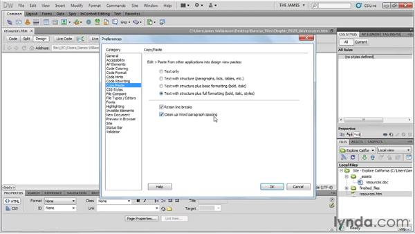 Getting text into Dreamweaver: Dreamweaver CS5 Essential Training