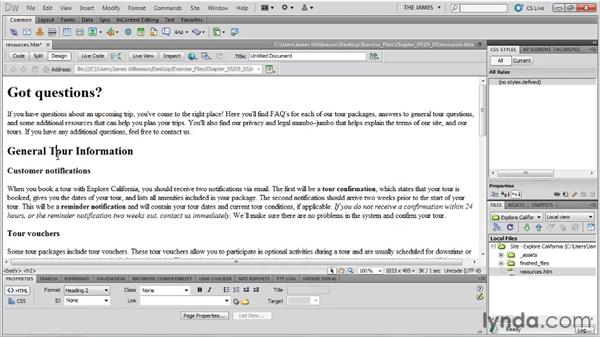 Importing Word documents: Dreamweaver CS5 Essential Training