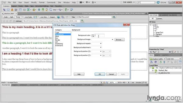 Understanding ID selectors: Dreamweaver CS5 Essential Training