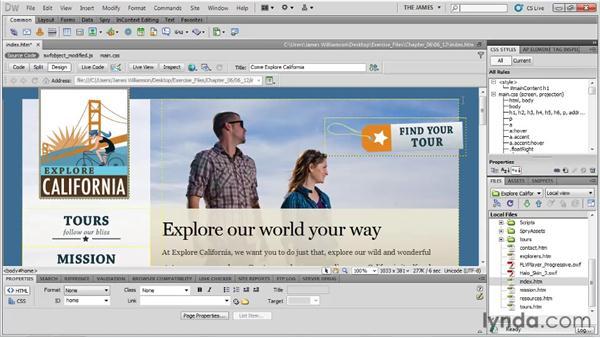 Attaching external style sheets: Dreamweaver CS5 Essential Training
