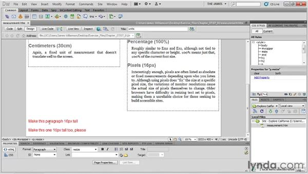 Working with units of measurement: Dreamweaver CS5 Essential Training