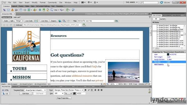 Controlling font sizing: Dreamweaver CS5 Essential Training