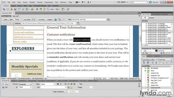 Controlling weight and style: Dreamweaver CS5 Essential Training