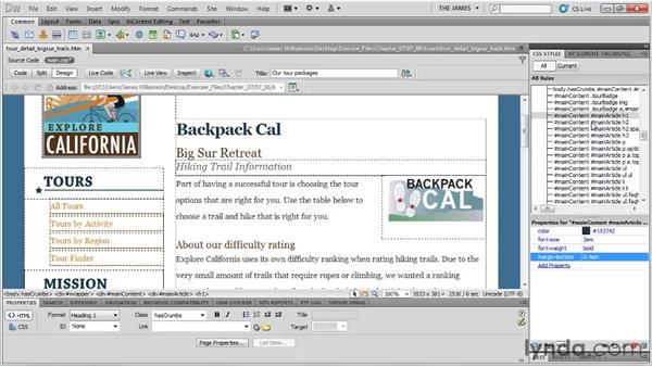 Controlling vertical spacing with margins: Dreamweaver CS5 Essential Training