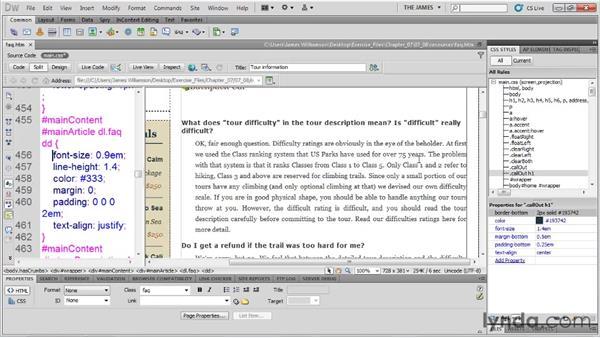 Aligning text: Dreamweaver CS5 Essential Training