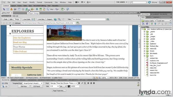 Placing images on the page: Dreamweaver CS5 Essential Training