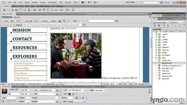 Modifying image properties: Dreamweaver CS5 Essential Training