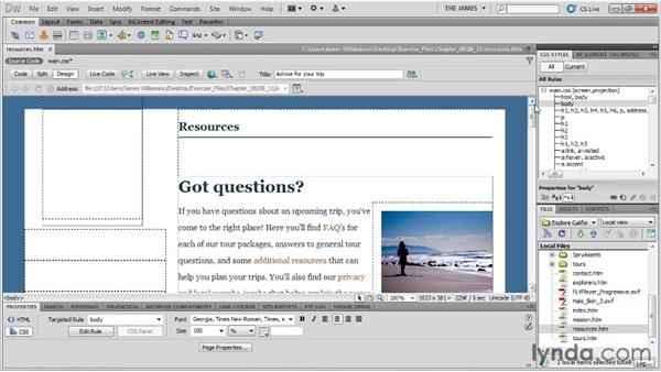 Using background graphics: Dreamweaver CS5 Essential Training