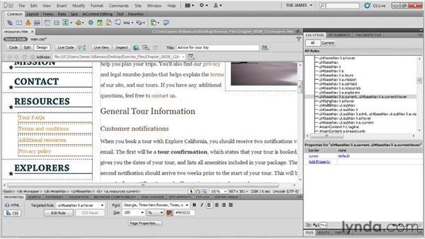 Positioning background graphics: Dreamweaver CS5 Essential Training