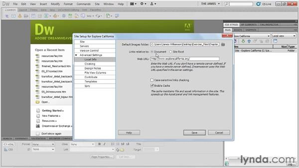 Setting site linking preferences: Dreamweaver CS5 Essential Training