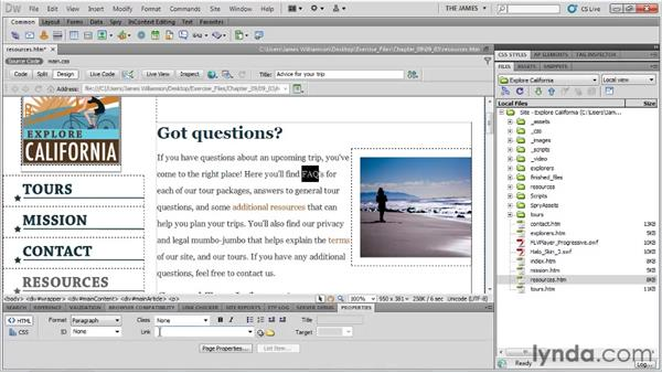 Creating links in Dreamweaver: Dreamweaver CS5 Essential Training