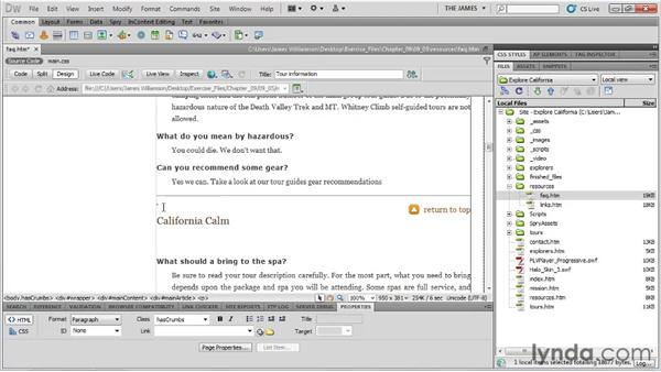 Using named anchors: Dreamweaver CS5 Essential Training