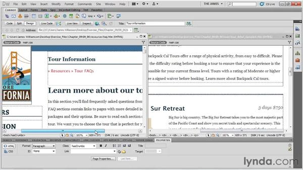 Linking to named anchors in external files: Dreamweaver CS5 Essential Training