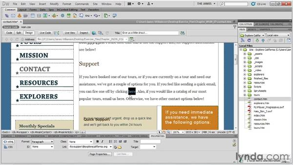 Creating an email link: Dreamweaver CS5 Essential Training
