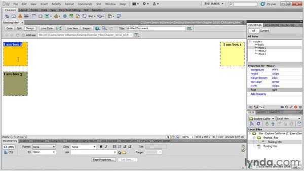 Understanding floats: Dreamweaver CS5 Essential Training