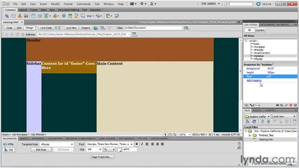 Clearing and containing floats: Dreamweaver CS5 Essential Training