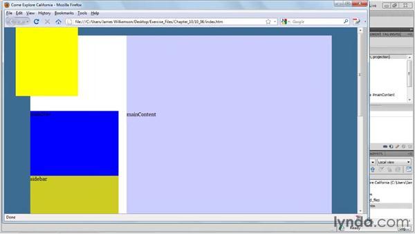 Using absolute positioning: Dreamweaver CS5 Essential Training
