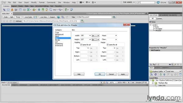 Creating structure with div tags: Dreamweaver CS5 Essential Training