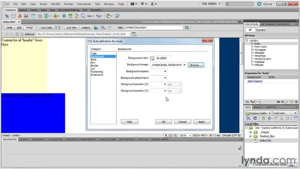 Styling basic structure: Dreamweaver CS5 Essential Training