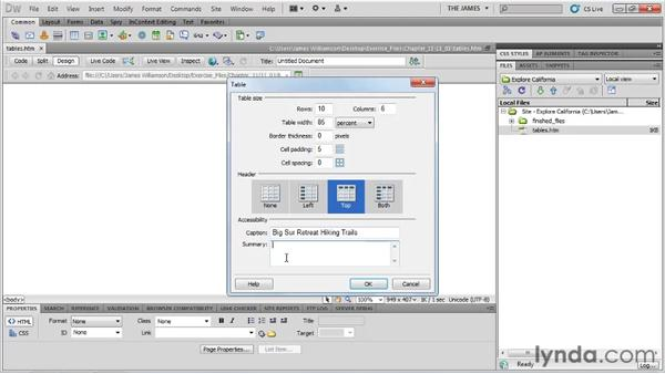 Reviewing table structure: Dreamweaver CS5 Essential Training