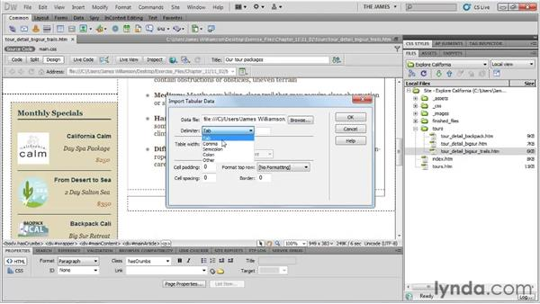 Importing tabular data: Dreamweaver CS5 Essential Training