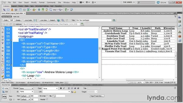 Using thead and tbody tags: Dreamweaver CS5 Essential Training